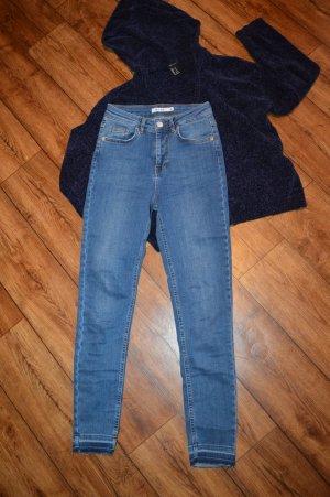 Skinny High Waist Open Hem Jeans Blau 36 Nakd