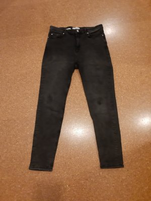 Mango Spodnie z wysokim stanem ciemnoszary-antracyt