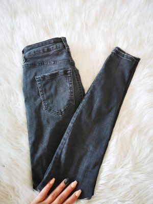 Pieces Drainpipe Trousers black-dark grey