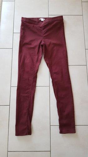 H&M Pantalón de tubo burdeos