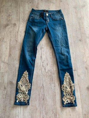 Skinny-Jeans - Blue/Beige - Größe 34 XS/S - Spitze - Edel!