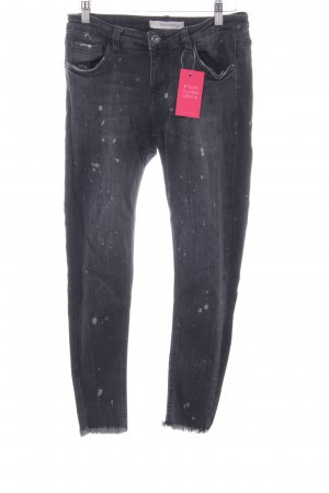 Skinny Jeans dunkelgrau-hellgrau Used-Optik