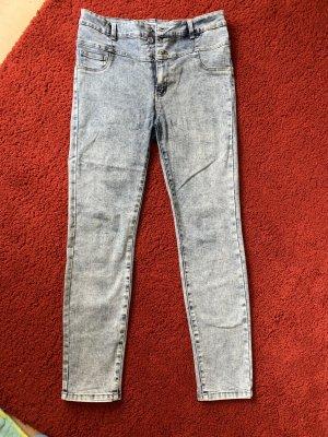 Jeans skinny gris clair-bleu azur