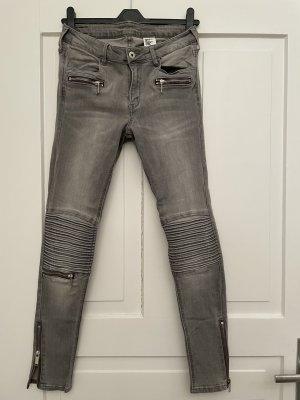H&M Jeans da motociclista grigio chiaro-grigio Cotone