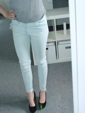 Skinny Jeans mit Fransen hellblau / ausgewaschen