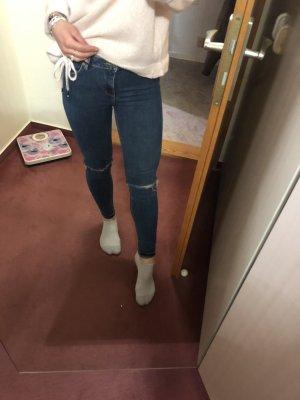 Skinny Jeans mit Knielöchern dunkelblau 32 XS XXS
