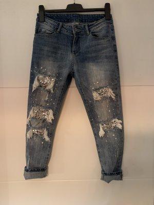 Skinny Jeans mit Pailletten und Perlen (Gr. 38)