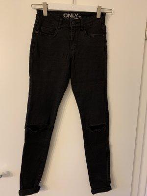 Skinny-Jeans, Only, schwarz, XS, Midwaist
