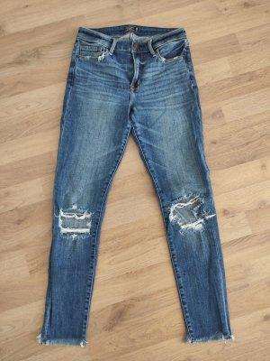 Abercrombie & Fitch Jeansy o obcisłym kroju ciemnoniebieski