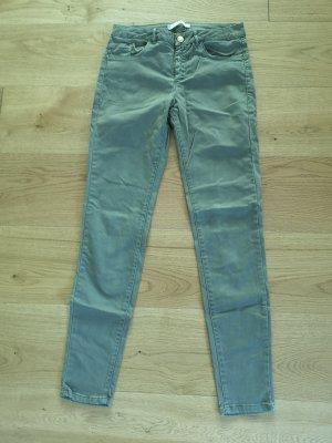 Skinny Jeans Zara kaki grün 38