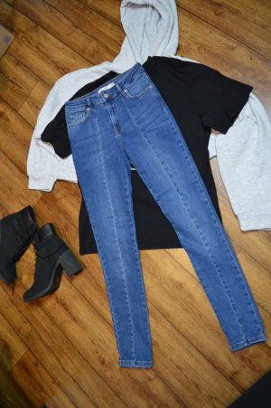 Skinny Mid Waist Front Panel Jeans 36