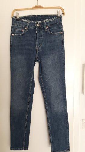 H&M Jeans a vita alta bianco-blu