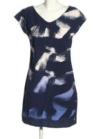 Skunkfunk Kurzarmkleid blau-wollweiß abstraktes Muster Casual-Look