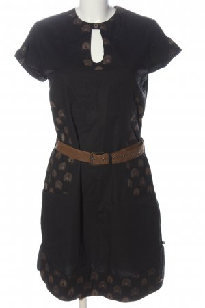 Skunkfunk Shortsleeve Dress black abstract pattern elegant