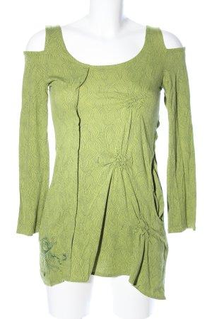 Skunkfunk Blouse à manches longues vert imprimé allover style décontracté