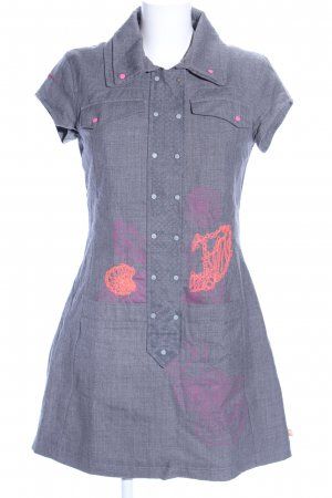 Skunkfunk Shirtkleid blau-pink abstraktes Muster Casual-Look
