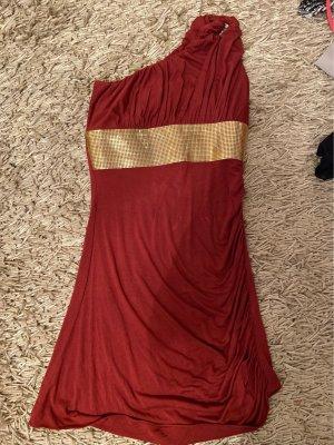 SKY Sukienka na jedno ramię rudy-złoto