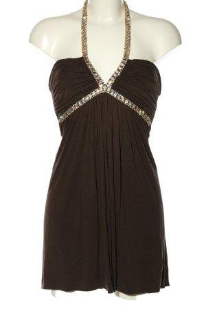 SKY Vestido de cuello Halter marrón estilo extravagante