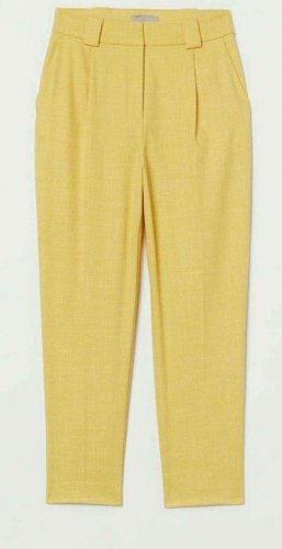H&M Trend Pleated Trousers yellow viscose