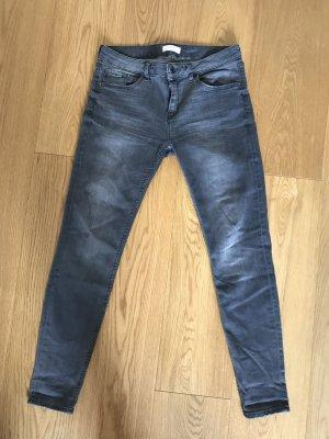Zara Woman Jeans slim gris foncé coton