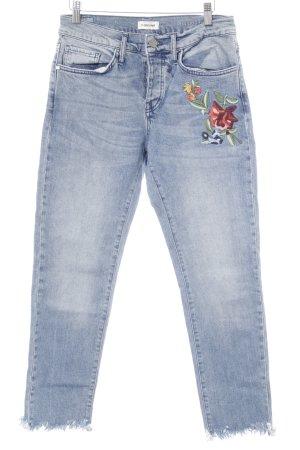 Slim Jeans Blumenmuster Stickereiverzierung