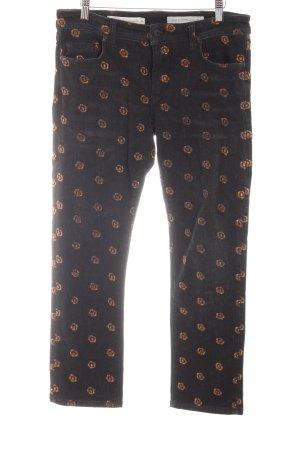 Slim Jeans schwarz-bronzefarben Blumenmuster Jeans-Optik