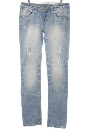 Slim Jeans stahlblau Used-Optik