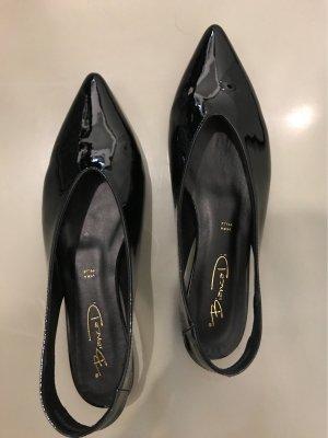 Bianca Di Slingback ballerina's zwart Leer