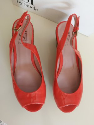 si by sinela Peep Toe Ballerinas salmon