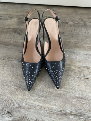 Zara Slingback pumps zwart-zilver