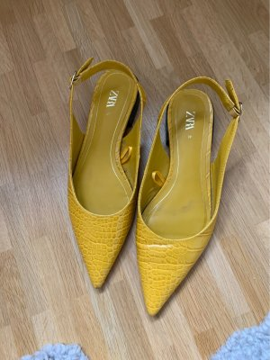 Zara Ballerine en pointe orange doré