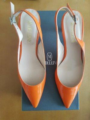 Slingpumps aus glänzendem orangem Lackleder von MADELEINE, Größe 40, neu/ungetragen
