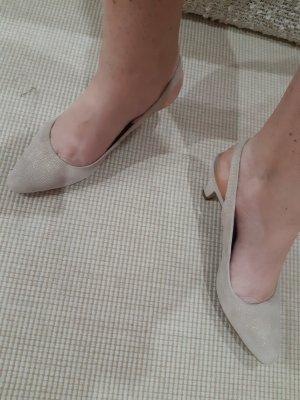Czółenka z paskiem za piętą kremowy Tkanina z mieszanych włókien