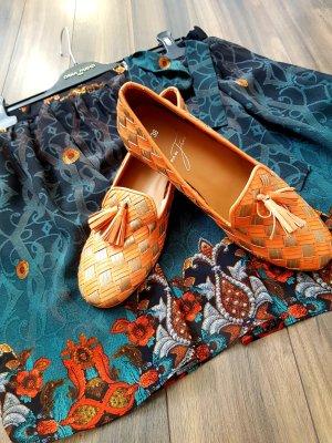 Pia di Fiore Slippers silver-colored-light orange leather