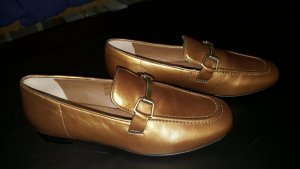Slipper aus echtem Leder goldfarben 39