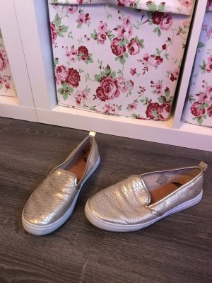 Slipper Gold Schlangen Leder Optik Slip on Schlappen Sommer ballarinas