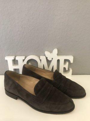 Zapatos formales sin cordones marrón oscuro