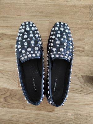 Zara Basic Pantofel czarny-srebrny