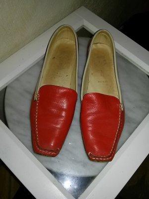Slipper Mokassin von Pascucci (made in Italy)! - Gr.38- Nappaleder rot-beige