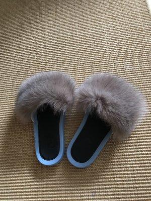 Sabot bleu azur-chameau fourrure