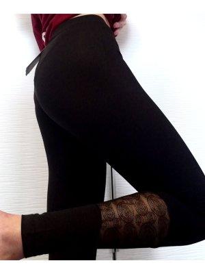 sloggi move schwarze Sport Fitness Leggings mit Spitze und Handytasche High Waist | Größe S/34