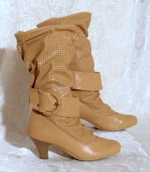 Slouch Boots 37 Riesen Schnalle Elegant Stiefel SALIN Helles Braun