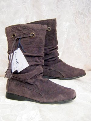 Slouch Boots 39 Braun Leder Stiefel