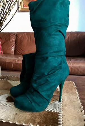 Slouch Boots forest green imitation leather