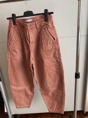 Zara Workowate jeansy brązowy-rudy