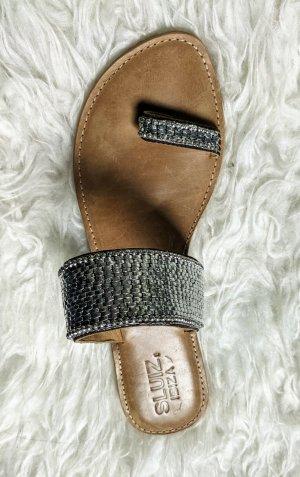 sluize ibiza Toe-Post sandals silver-colored-light brown