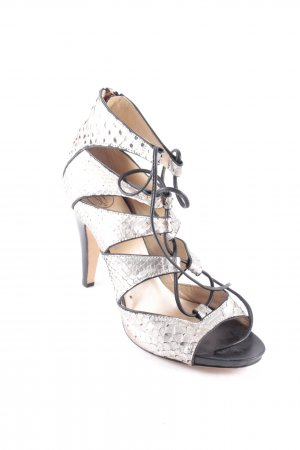 Sly 010 High Heel Sandaletten silberfarben Reptil-Optik