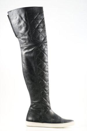 Sly 010 Overknees schwarz-weiß Steppmuster Casual-Look