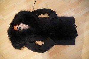 Sly 010 Parka Mantel Jacke Waschbär Luxus 1.600€ neu black schwarz