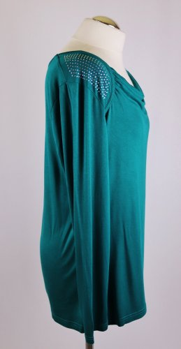 Smaragdgrün Weich Wasserfall Shirt Top Tunika Laura T Classic Größe L 42 Grün Strass Glitzer Langarm Jersey Dunkelgrün